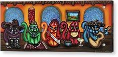 Fiesta Cats Or Gatos De Santa Fe Acrylic Print by Victoria De Almeida