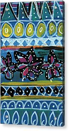 Fiesta In Blues- Abstract Pattern Painting Acrylic Print