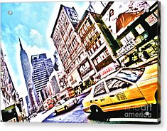 Fifth Avenue And Empire State Hdr Acrylic Print by Kim Lessel