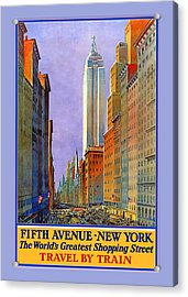 Fifth Avenue  New York Travel Poster Acrylic Print by Denise Beverly