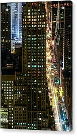 Fifth By Night With St. Patrick's Acrylic Print by Kim Lessel