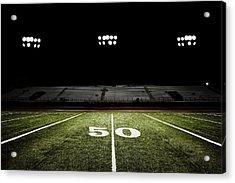 Fifty-yard Line Of Football Field At Acrylic Print by Jgareri