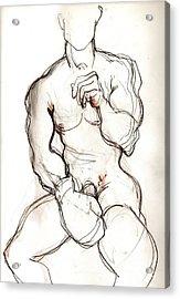 Fight Boy Getting Ready Acrylic Print by Carolyn Weltman