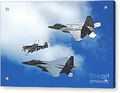 Acrylic Print featuring the photograph Fighter Jets Old And New by Stephen Flint