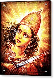 Acrylic Print featuring the mixed media Fighting Goddess by Ananda Vdovic