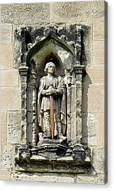 Figure Of St Wystan Above Porch Door Acrylic Print by Rod Johnson