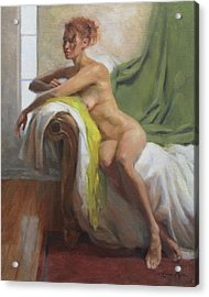 Figure With Chartreuse Scarf Acrylic Print by Anna Rose Bain