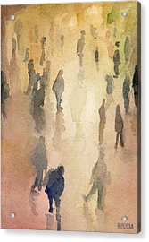 Figures Grand Central Station Watercolor Painting Of Nyc Acrylic Print by Beverly Brown