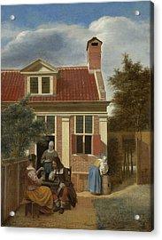 Figures In A Courtyard Behind A House Acrylic Print by Pieter de Hooch