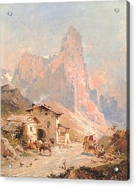 Figures In A Village In The Dolomites Acrylic Print by Franz Richard Unterberger