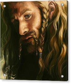 Fili-green And Gold Acrylic Print