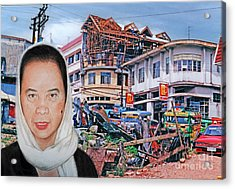 Filipina Woman And Her Earthquake Damage City Version II Acrylic Print by Jim Fitzpatrick