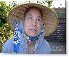 Filipina Woman With A Mole On Her Cheek And Wearing A Conical Hat II Acrylic Print by Jim Fitzpatrick