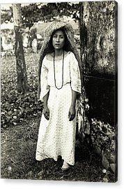 Filipino Woman In Traditional Rain Cape Acrylic Print by American Philosophical Society