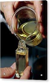 Filling A Sample Bottle With Perfume From A Beaker Acrylic Print by Klaus Guldbrandsen/science Photo Library