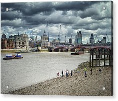 Film Crew On The Thames - London Back-drop Acrylic Print by Kim Andelkovic