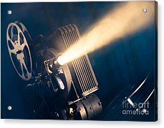 Film Projector On A Wooden Background Acrylic Print