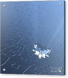 Final Piece Of The Jigsaw Puzzle Concept Acrylic Print by Christos Georghiou