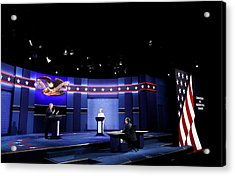 Final Presidential Debate Between Hillary Clinton And Donald Trump Held In Las Vegas Acrylic Print by Drew Angerer