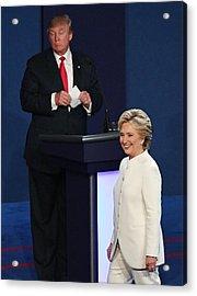 Final Presidential Debate Between Hillary Clinton And Donald Trump Held In Las Vegas Acrylic Print by Ethan Miller