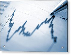 Finance Chart With High Peak On Document Acrylic Print by Deepblue4you