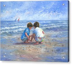 Finding Sea Shells Brother And Sister Acrylic Print