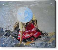 Finding Seashells Acrylic Print by Joyce Reid