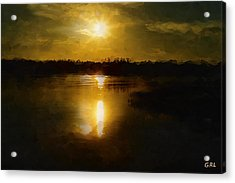 Acrylic Print featuring the painting Fine Art Digital Painting Sunset Weeki Wachee Florida by G Linsenmayer