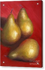 Fine Art Hand Painted Golden Pears Red Background Acrylic Print by Lenora  De Lude
