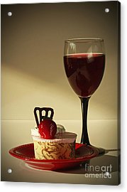 Fine Red Wine And Strawberry Marble Torte Dessert Acrylic Print by Inspired Nature Photography Fine Art Photography