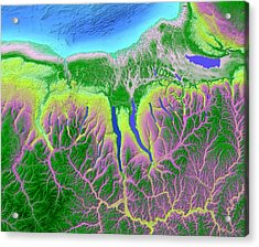 Finger Lakes Map Art Acrylic Print