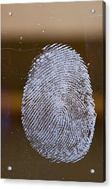 Fingerprint On Glass Acrylic Print by Ashley Cooper