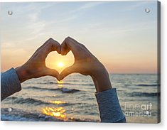 Fingers Heart Framing Ocean Sunset Acrylic Print