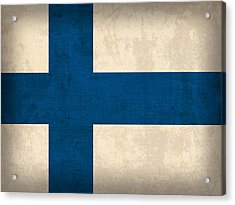 Finland Flag Vintage Distressed Finish Acrylic Print