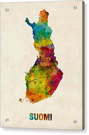 Finland Watercolor Map Suomi Acrylic Print by Michael Tompsett