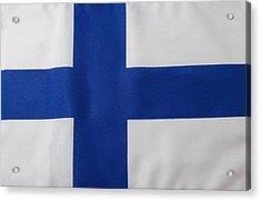 Finnish Flag Acrylic Print by Junior Gonzalez