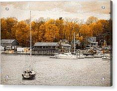 Finn's Harborside East Greenwich Rhode Island Acrylic Print by Lourry Legarde