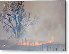 Acrylic Print featuring the photograph Fire And Fence Line by Scott Bean