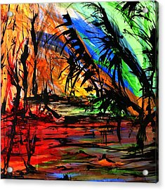 Acrylic Print featuring the painting Fire And Flood by Helen Syron