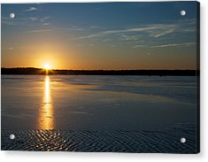 Acrylic Print featuring the photograph Fire And Ice - Sunset On An Icy Lake by Jane Eleanor Nicholas