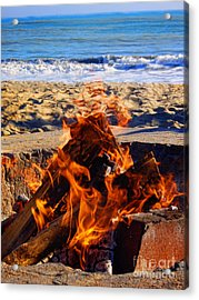 Acrylic Print featuring the photograph Fire At The Beach by Mariola Bitner