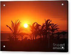Fire Ball Sunset Acrylic Print by Bob Hislop