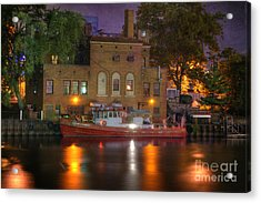 Fire Boat On Cuyahoga River Acrylic Print by Juli Scalzi