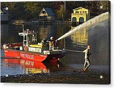 Fire Boat Acrylic Print by Susan Leggett