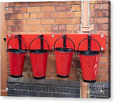 Fire Buckets At Toddington Railway Station Acrylic Print by Louise Heusinkveld