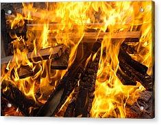 Fire - Burning Wood Acrylic Print by Matthias Hauser
