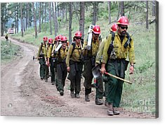 Fire Crew Walks To Their Assignment On Myrtle Fire Acrylic Print
