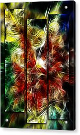 Acrylic Print featuring the digital art Fire Dancers Triptych by Selke Boris