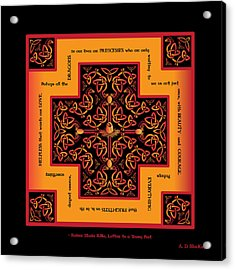 Fire Dragon Celtic Cross Acrylic Print