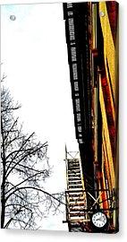 Fire Escape And Clock - Ontario - Canada Acrylic Print